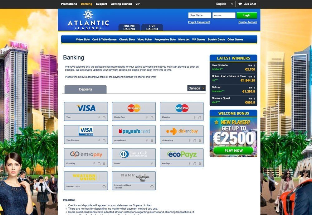 Atlantic Casino Bonus