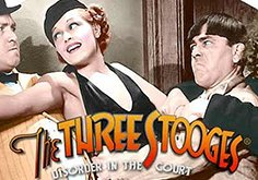 The Three Stooges Disorder In The Court Pokie Logo